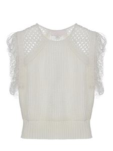 Genny - Drilled knit top in white