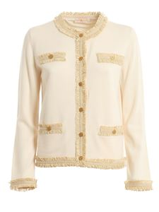 Tory Burch - Kendra merino wool cardigan in cream color