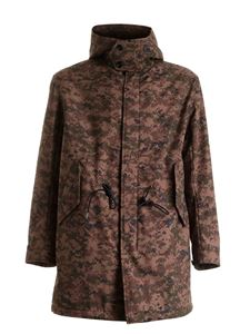 Dondup - Camouflage parka featuring hood