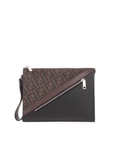 Fendi - Embossed fabric pouch featuring FF motif