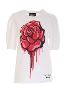 Moschino Boutique - Rosa print T-shirt in white