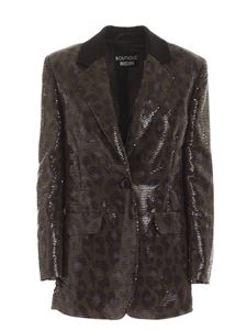 Moschino Boutique - Camouflage print and sequins jacket in black