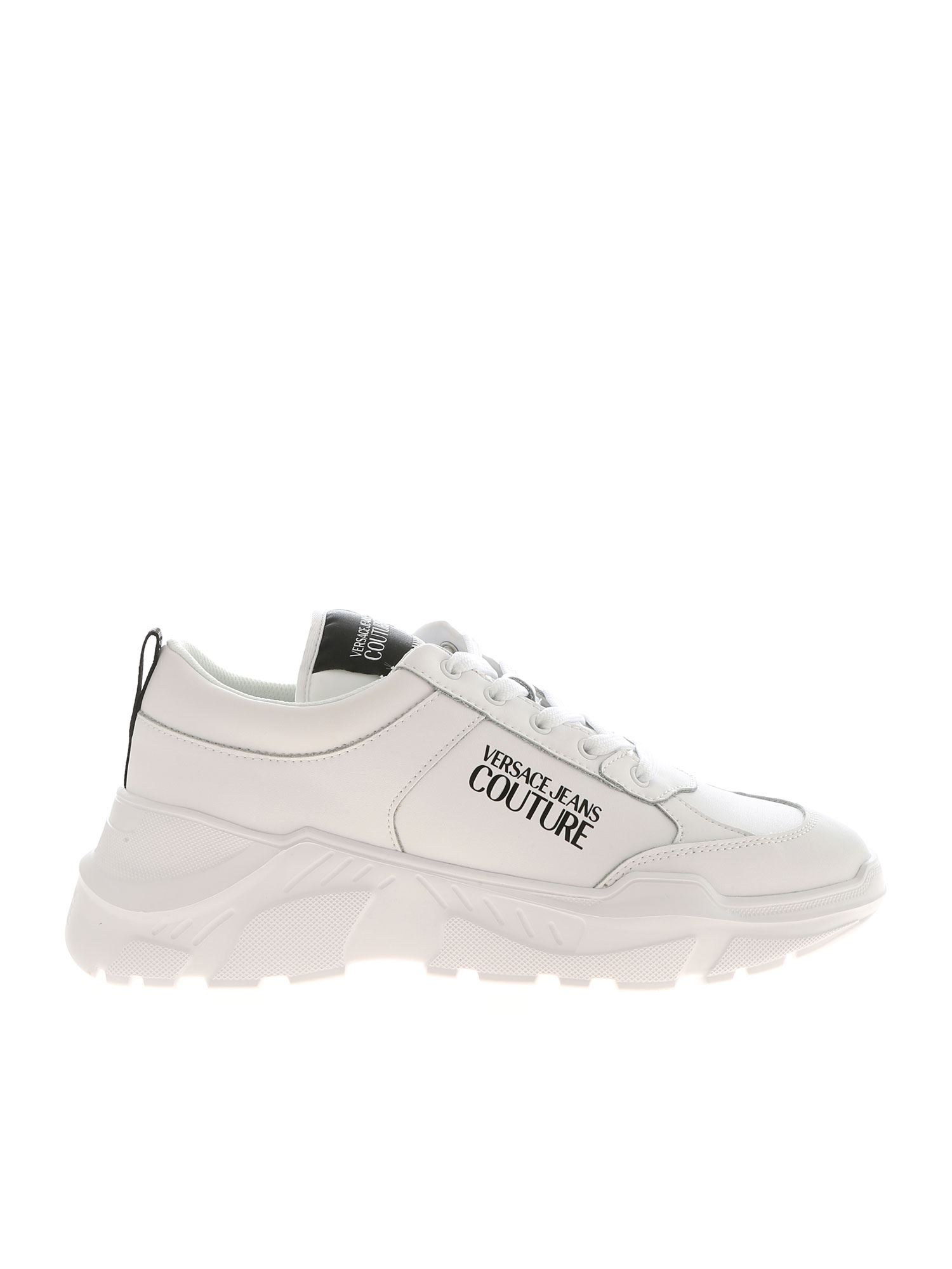 Versace Jeans Couture BLACK LOGO PRINT SNEAKERS IN WHITE
