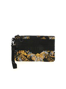 Versace Jeans Couture - Rubber logo clutch bag in black