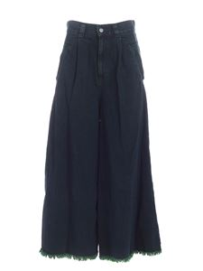 Zucca - Wide leg green jeans featuring fringes