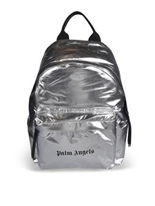 Palm Angels - Backpack in silver color with logo print