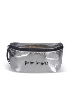 Palm Angels - Belt bag with logo print in silver color