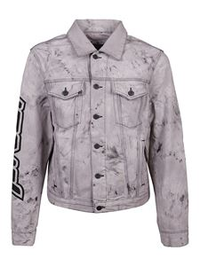 Off-White - Tie-dye print denim jacket in grey