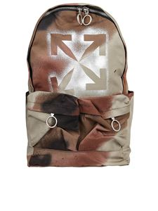 Off-White - Arrows print camouflage backpack in brown