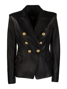 Balmain - Leather double-breasted blazer in black
