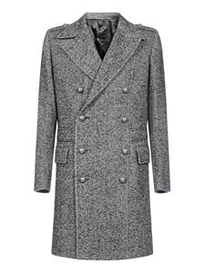 Balmain - Chevron wool coat in grey