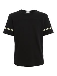 Saint Laurent - Flock logo cotton T-shirt in black