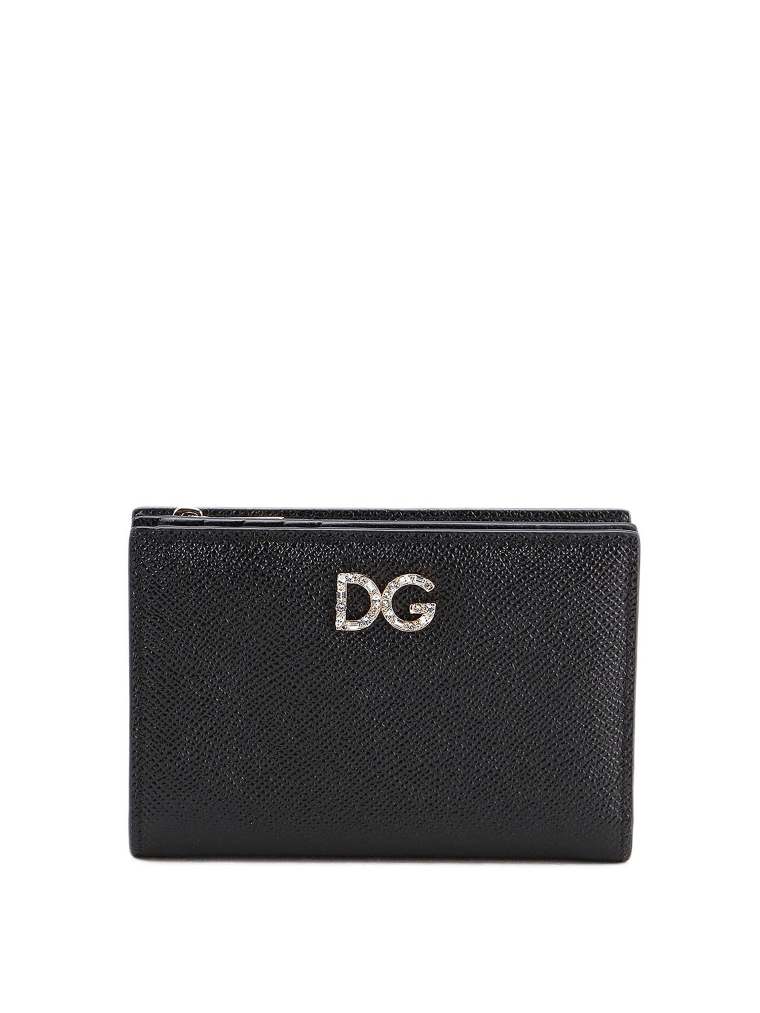 Dolce & Gabbana HAMMERED LEATHER BIFOLD WALLET IN BLACK