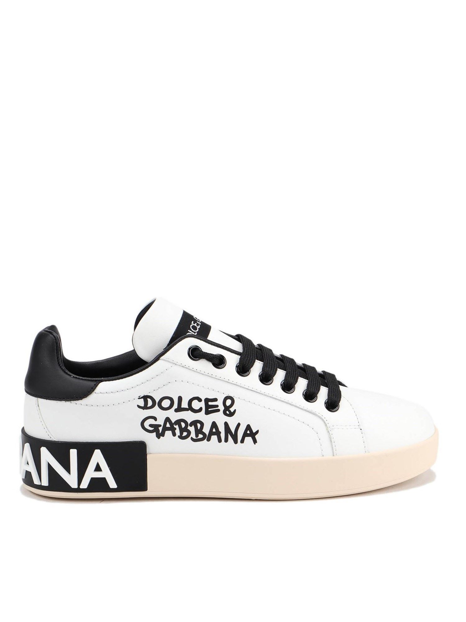 Dolce & Gabbana PORTOFINO SNEAKERS IN WHITE AND BLACK