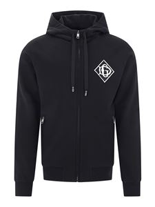 Dolce & Gabbana - Logo patch cotton hoodie in black