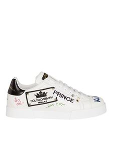 Dolce & Gabbana - Portofino sneakers in white with prints and patches