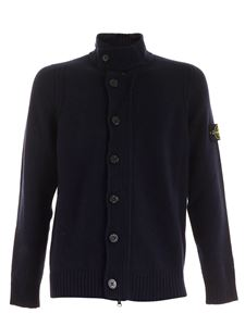 Stone Island - Logo patch pullover cardigan in blue