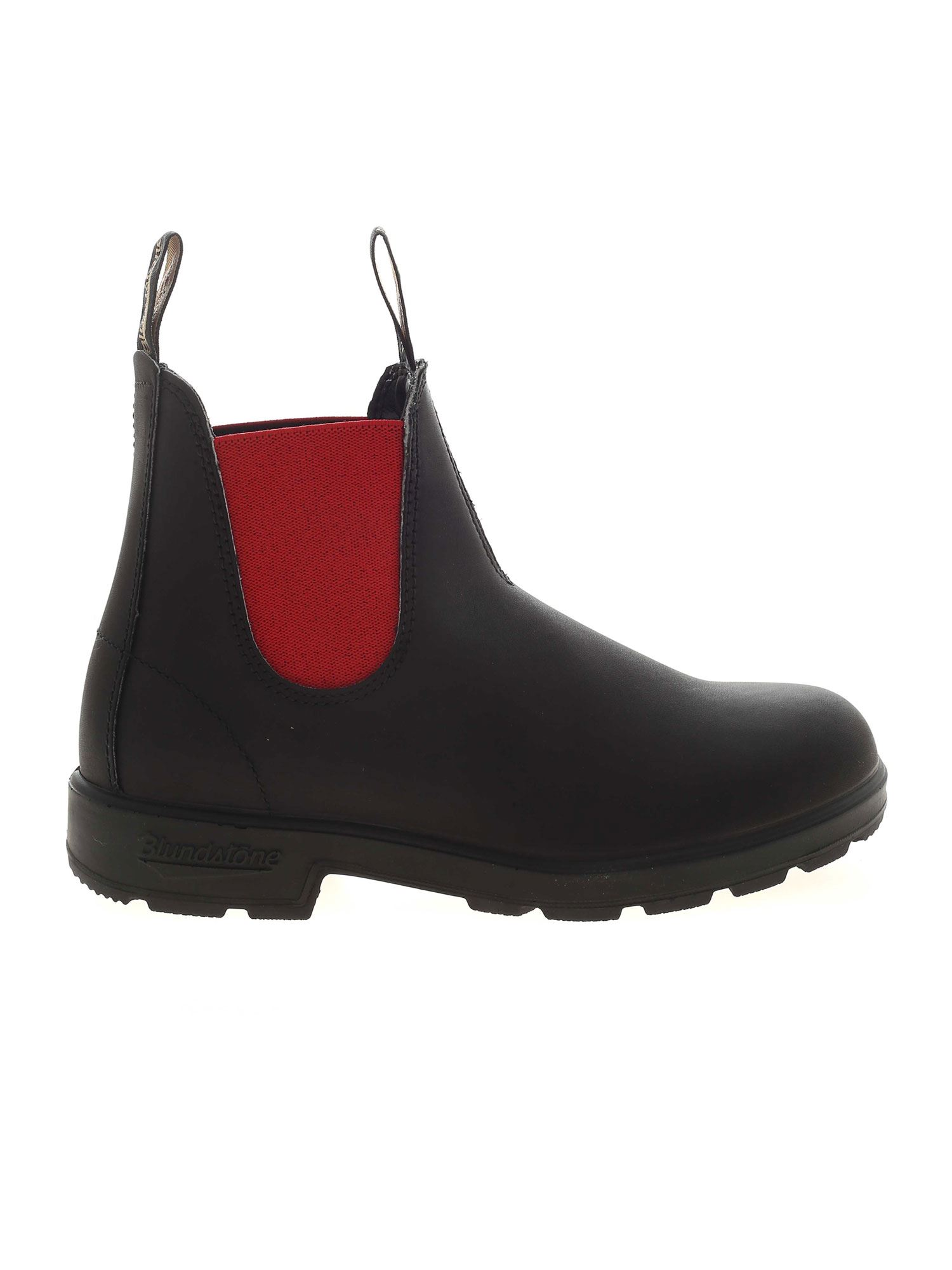 Blundstone CHELSEA BLACK ANKLE BOOTS WITH RED STRETCH INSERTS
