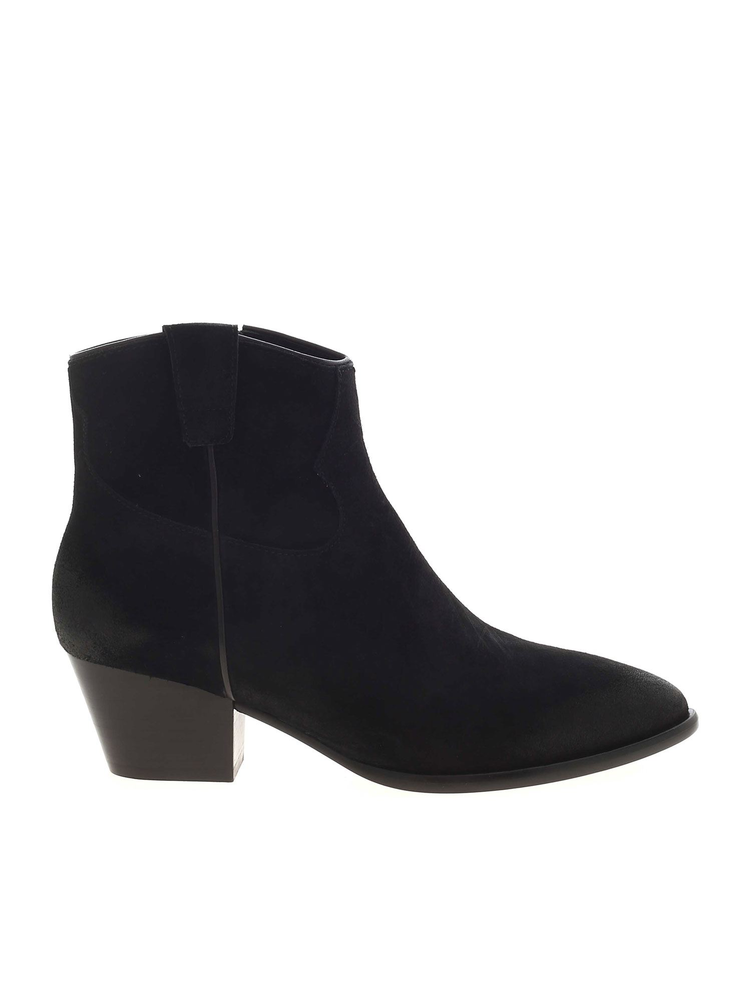 ASH HOUSTON POINTED ANKLE BOOTS IN BLACK
