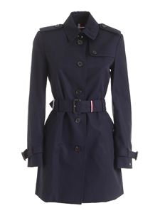 Tommy Hilfiger - Heritage blue trench coat featuring logo