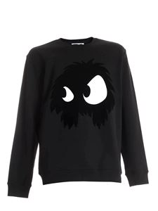 McQ Alexander Mcqueen - Tone-on-tone flock logo sweatshirt in black