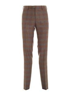 PT01 - Virgin wool check pants in brown
