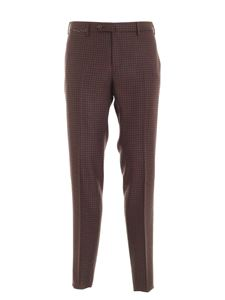 PT01 - Pied de poule pants in brown and teal blue color