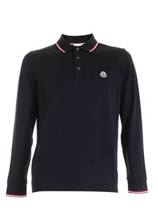 Moncler - Logo patch long-sleeves polo shirt in blue