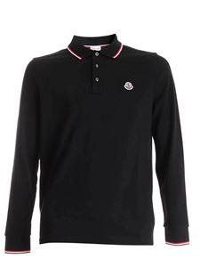 Moncler - Logo patch long-sleeves polo shirt in black