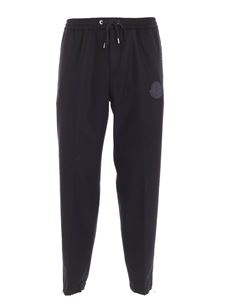 Moncler - Logo patch wool pants in blue