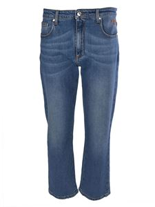 MSGM - Cropped jeans in blue featuring rhinestone logo