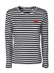 Comme des Garçons Play  - Red Heart long-sleeves T-shirt in black and white