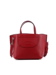 Tod's - Embossed logo hammered leather mini bag in red