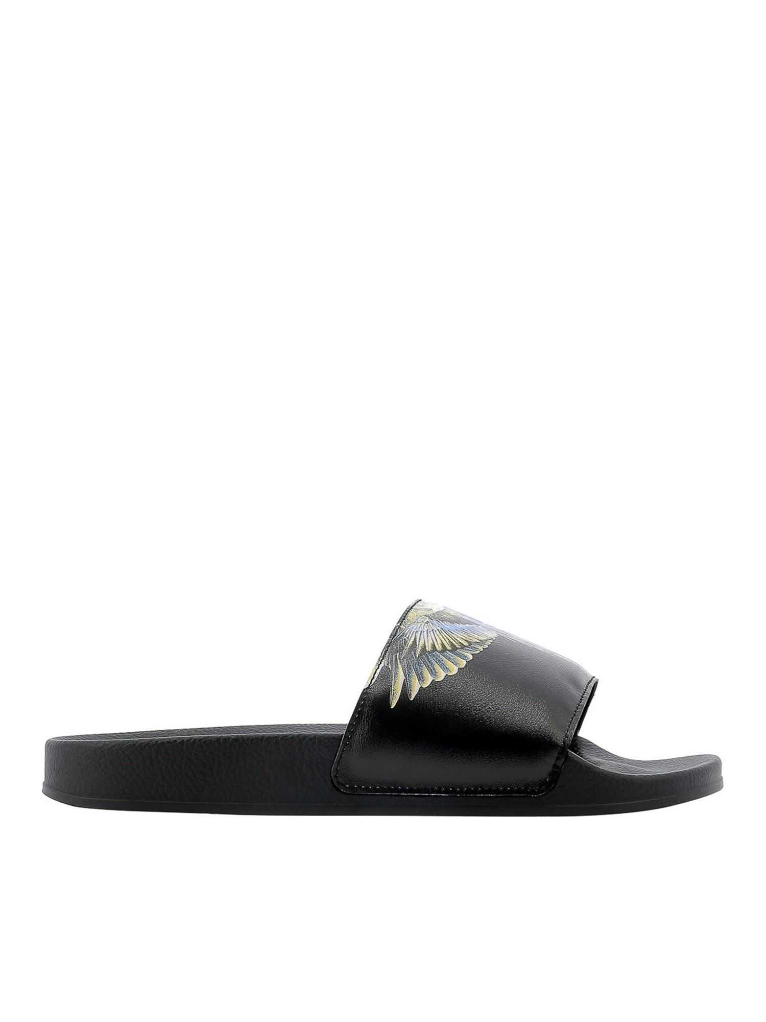 Marcelo Burlon County Of Milan WINGS RUBBER SLIDE SANDALS IN BLACK