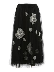 Red Valentino - Point d'esprit tulle skirt in black