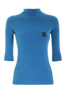 Ermanno by Ermanno Scervino - Logo three-quarter sleeves sweater in turquoise