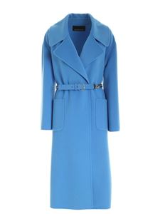 Ermanno by Ermanno Scervino - Turquoise wool coat featuring belt