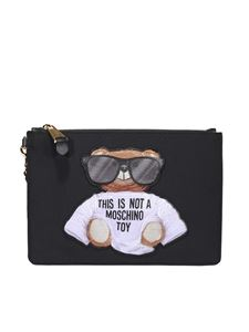 Moschino - Teddy leather clutch in black
