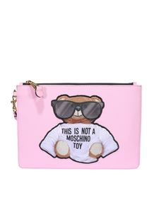 Moschino - Teddy leather clutch in pink