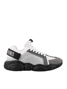 Moschino - Sneakers Teddy bianche con inserti in suede