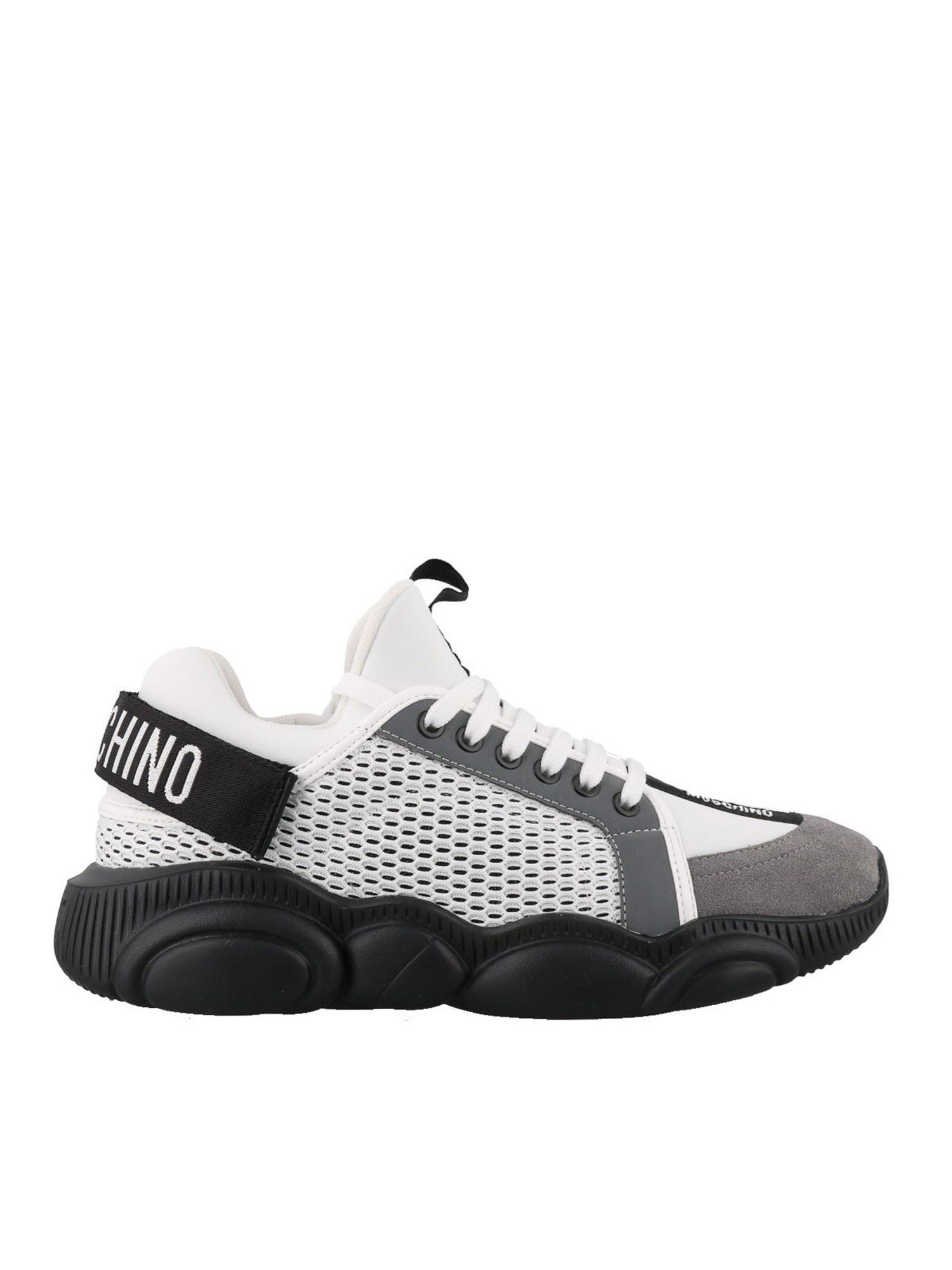 MOSCHINO TEDDY WHITE SNEAKERS WITH SUEDE INSERTS