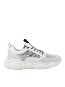 Moschino - Teddy mesh and faux suede sneakers in white