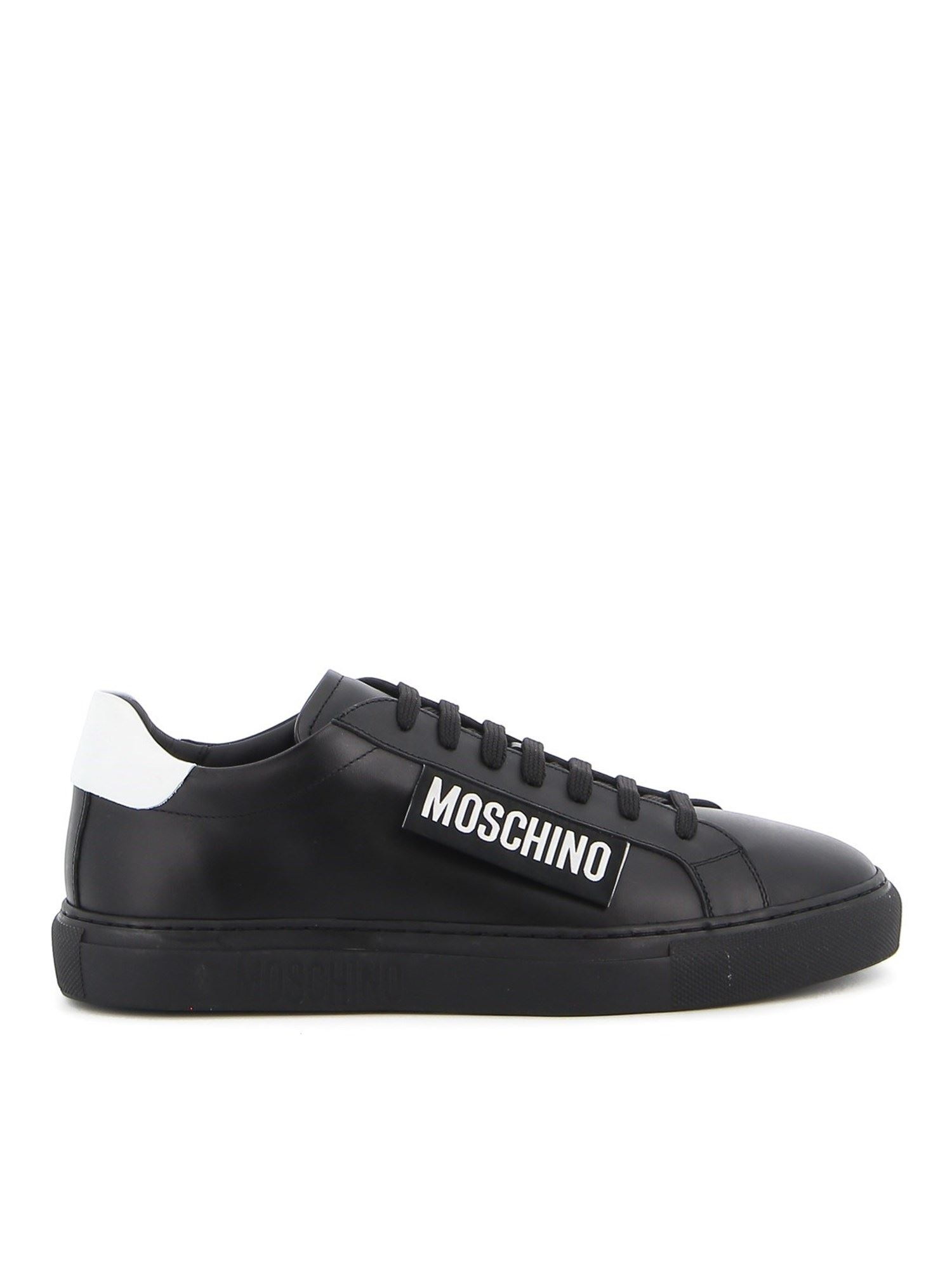Moschino Leathers LABEL SMOOTH LEATHER SNEAKERS IN BLACK
