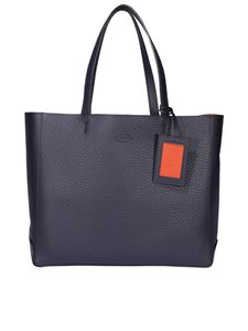 Tod's - Shopping medium hammered leather tote in blue