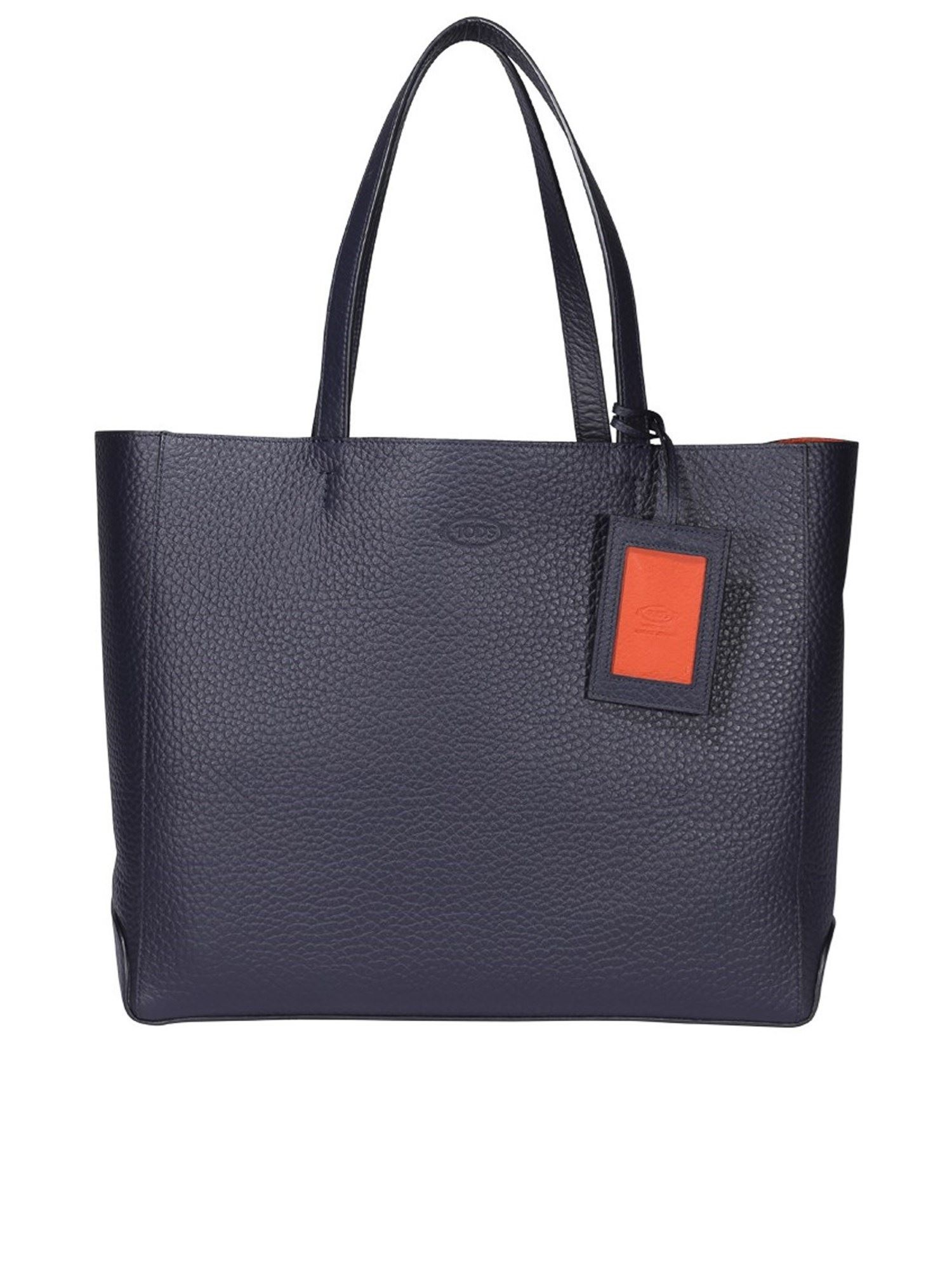 Tod's SHOPPING MEDIUM HAMMERED LEATHER TOTE IN BLUE
