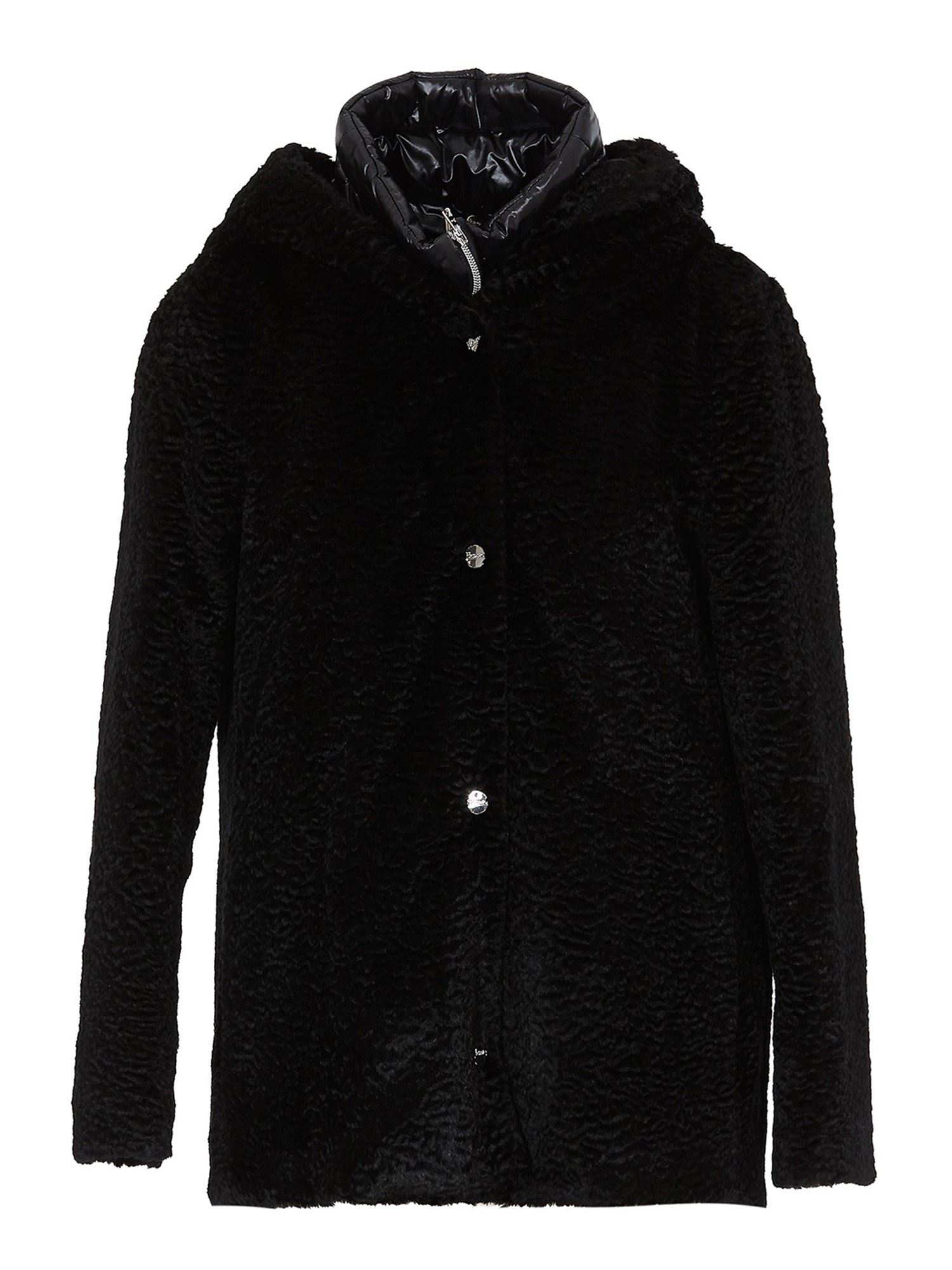 Herno BLACK FAUX FUR COAT