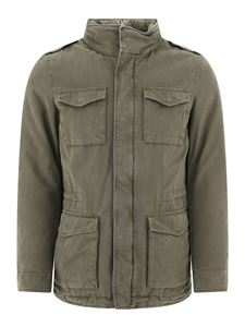 Herno - Logo padded Field jacket in mud-colored