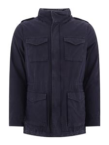 Herno - Blue cotton parka with hood