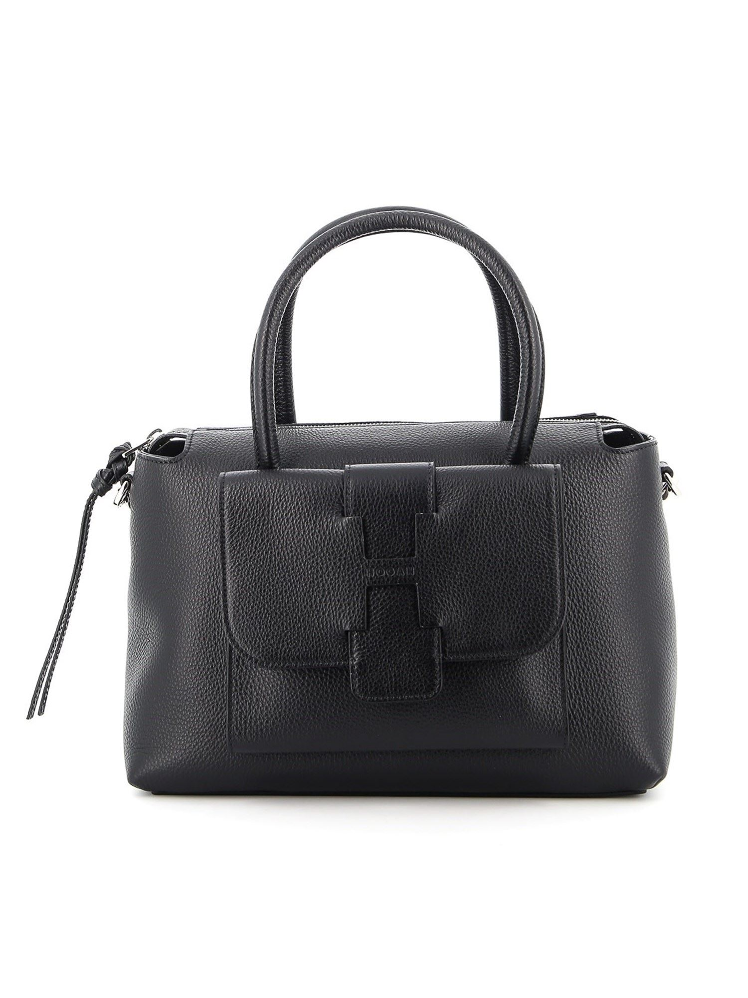Hogan HAMMERED LEATHER SMALL BOWLING BAG IN BLACK