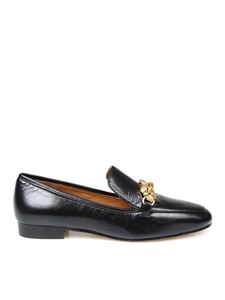 Tory Burch - Jessa black loafers in crackle-effect nappa leather